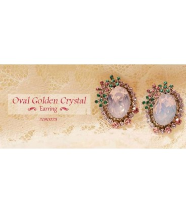 Oval Golden Crystal Earring (2090023)