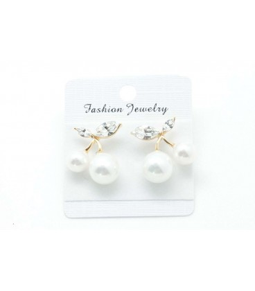 White Cherry Gold Plated Earrings (2090025)