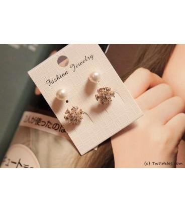 Floral Pearl Gold Earrings(2090008)