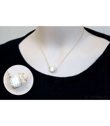H Crystal Gold Necklace (3100006)